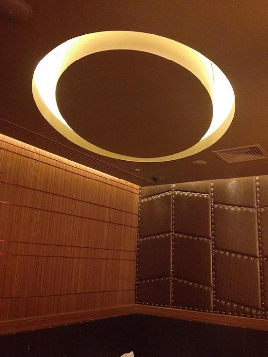 Elliptical Plasterboard Bulkhead feature in Corner Lounge