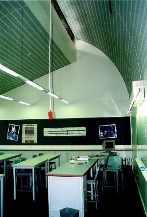 ACOUSTIC CURVED CORULINE PERFORATED ALUMINIUM CEILING AND PLASTERBOARD WALLS